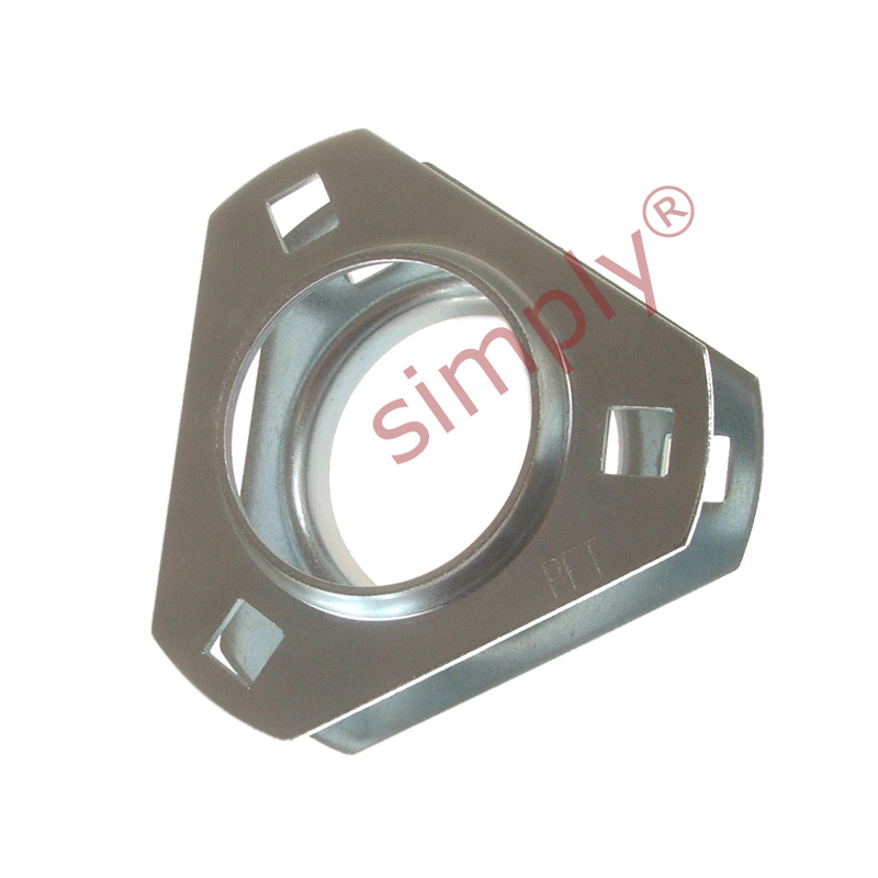 Sold in Pairs PFT206 Triangle 3 Bolt Pressed Steel Bearing Flanges