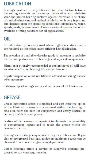 Gamet Lubrication Information