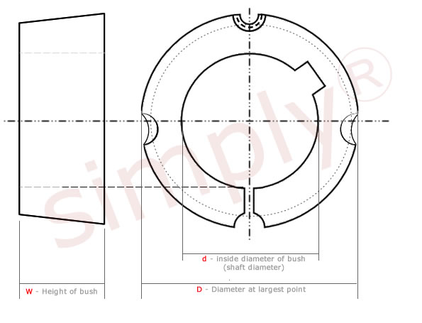 1008 to 3030 Series Taper Lock bush Diagram