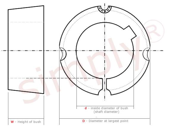 1008 to 3030 Series Taper Lock bush Diagram