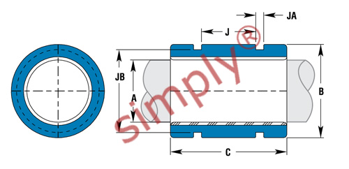 Simplicity Thin Wall Linear Plain Bearings Schematic