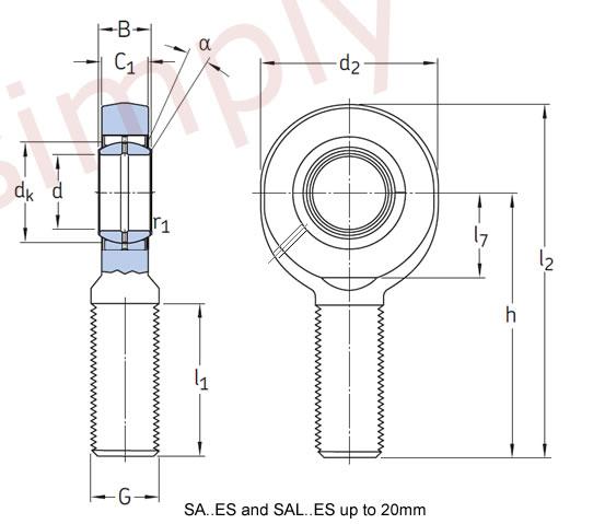 skf sa17es right hand steel    steel plain male rod end m16 thread simply bearings ltd